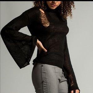 Black Distressed Sweater